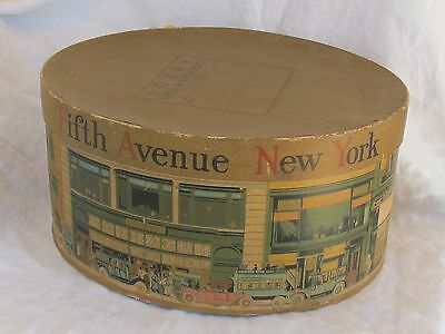 Vintage Hat Box DOBBS Fifth Avenue HATS New York 5th Ave Great Graphics