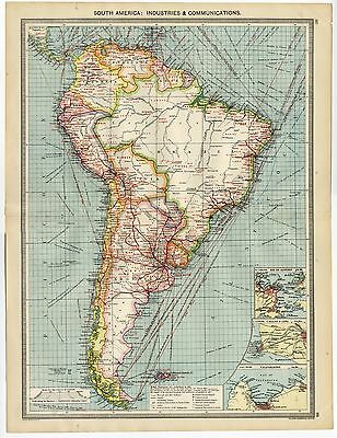 1907 Antique MAP South America RAILWAYS Marine Cables STEAMSHIP ROUTES Industry