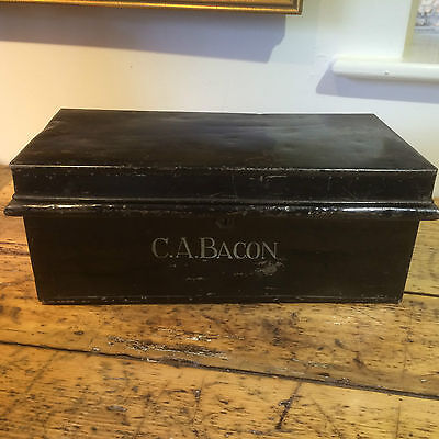 Vintage Metal Deed Box Bacon Safe Low Coffee Table Storage Trunk Antique