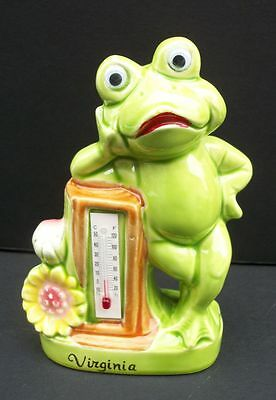 Vintage Souvenir Thermometer Relaxed Frog Virginia Made in Japan Neil