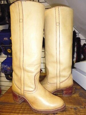 Genuine Vintage 60's Tan Saddle Leather Western Fry Style  Boots Size 7