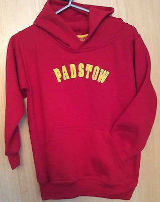Red PADSTOW LIFEGUARD With Yellow Embroidered Letters.  Hoodie Sweatshirt.  L/XL