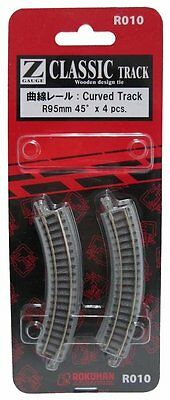 Rokuhan R010 R95mm 45-Degree Curved Track 4 pcs. (Z Scale 1:220) Japan