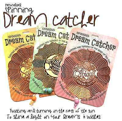 Personalised Spinning Dream Catcher Window Gift Garden Names Choose Design L-W