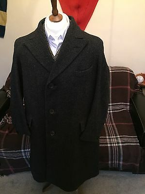 "Vintage Peaky Blinders Tweed Coat Overcoat Pure Wool Size 40""-42"" Chap"
