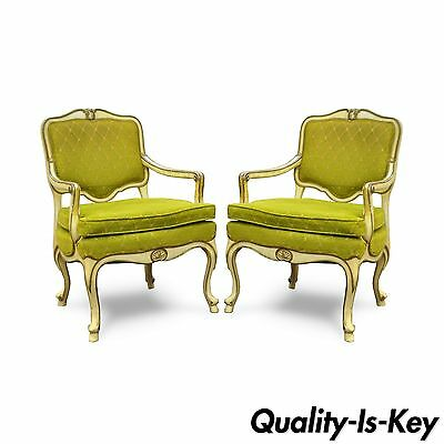 Pair Vtg Hollywood Regency French Louis XV Cream Green Fireside Lounge Arm Chair