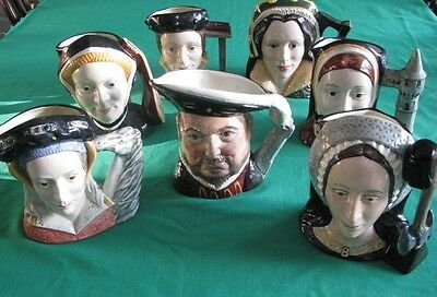 Royal Doulton Large Character Toby Jugs Henry Viii + Six Wives!