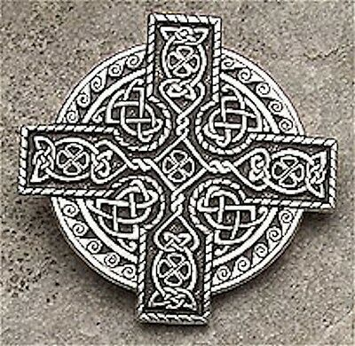 Celtic KING Cross IRISH 4 LEAF CLOVER Brooch CLOAK Pin - Perfect for FLY PLAID!