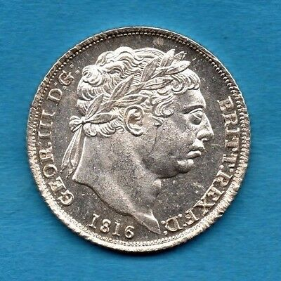 1816 SILVER SIXPENCE COIN. KING GEORGE III.   6d.  TANNER. SUPER CONDITION.