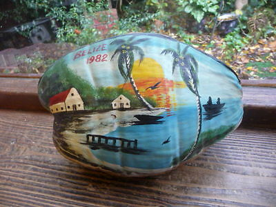 hand  painted  coconut  belize  1982