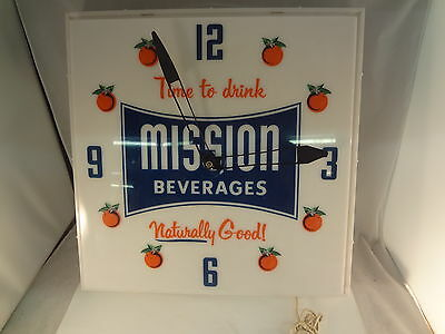 Mission Beverages Orange Soda Square Advertising Clock Vintage  234-V