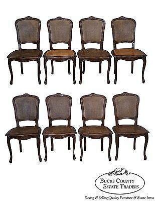 Quality Set of 8 French Louis XV Style Walnut & Cane Dining Chairs