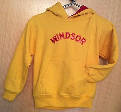 Yellow WINDSOR With Red Embroidered Letters Hoodie Sweatshirt. 7/8 Years Polycot