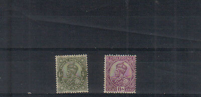 India George V 1911-22 4a and 8a lightly mounted mint