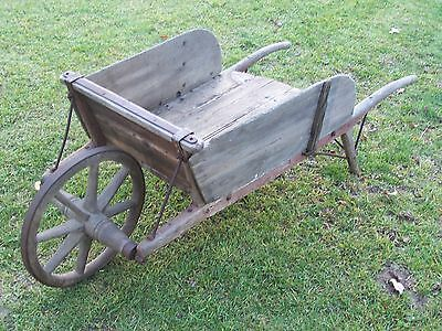 Antique Primitive Wood Wheelbarrow FULL Size Wooden Wheel Original Paint Solid