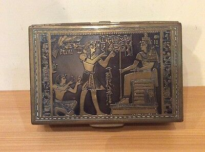 Vintage 1920's Egyptian Revival Engraved Brass Musical Box In Working Order