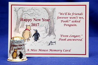 Happy New Year 2017 Winnie The Pooh Gold Top & Memory Card China Thimble B/176