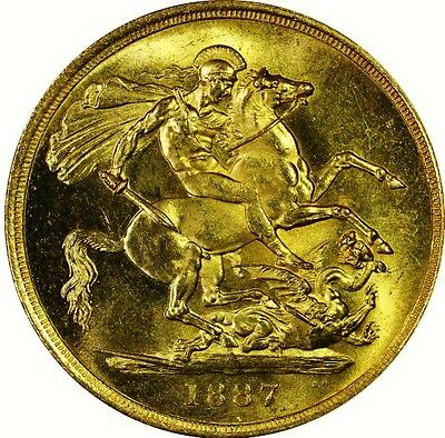 1887 Victoria Gold Two Pounds; Rare Mint State Example