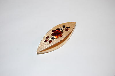 Wooden Tatting Shuttle Hand Made in MapleDecorated With Mother-of-Pearl Inlays