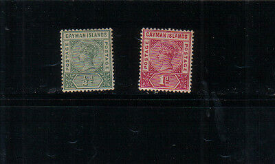 Cayman Islands Q Victoria 1900 1/2d and 1d very lightly mounted mint