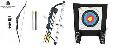 ASD Hawk Range Black Youth Archery Recurve & Compound with target Double Pack