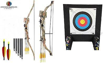 ASD Hawk Range Camo Youth Archery Recurve & Compound with target Double Pack