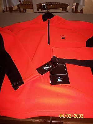 Spyder Outbound Half Zip Sweater Orange/black New W/tags Large