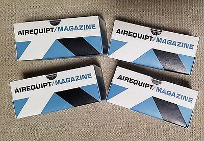 """4 New in the box vintage Airequipt 2""""x2"""" Aluminum Automatic Slide Magazines"""