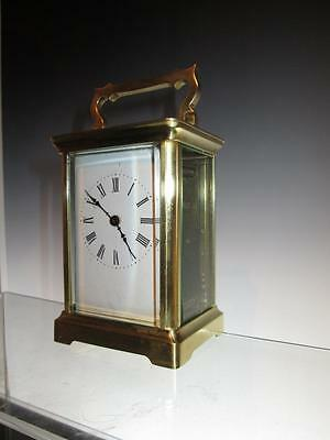Superb Antique French Corniche Cased Brass Carriage Clock, Cased + Key (Working)
