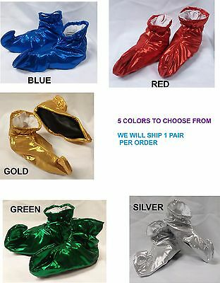 Metallic Lamé Cloth Elf Shoes Genie Curly Toes Kids Size  Costume Accessory
