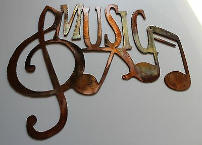 MUSIC Wall Art with Musical Notes copper/bronze plated  Mini Size by HGMW