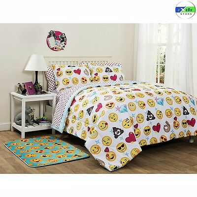 Girls Colorful Emoji Icons 7 Piece Full Reversible Polyester Comforter Bed Set