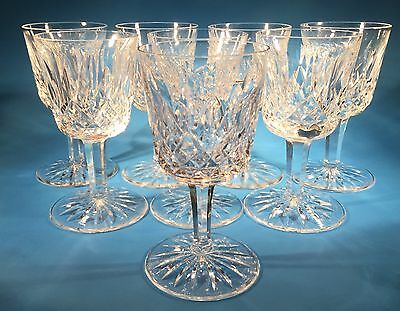 """Set of 8 Waterford Crystal Lismore Port Wine Glasses 4 1/4"""" Old Gothic Mark"""