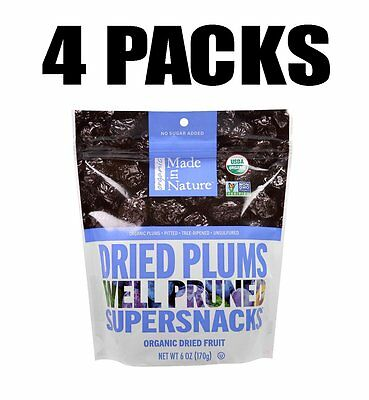 Made in Nature, Organic Dried Plums, Well Pruned Supersnacks, 4 PACKS