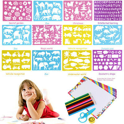 Kids Children Drawing Stencils & Pencils Picture Painting Template Kits Set Gift