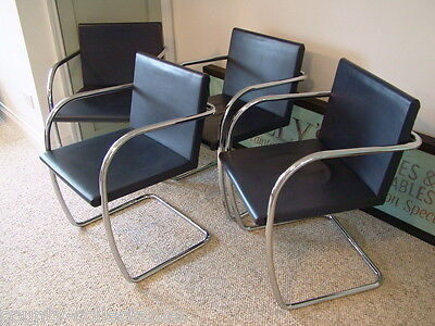Set 4 Ludwig Mies van de Rohe for Knoll Brno chairs mid century cantilever