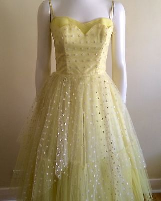 Vintage 40s 50s Pinup Dress Yellow Ball gown  Evening Rockabilly Retro