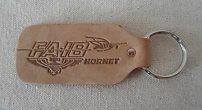 FA-18 HORNET leather tag KEY RING Chain US NAVY Aviator JET FIGHTER Blue Angels