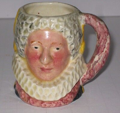 """Queen Bess Hand-Painted Toby Mug Lancaster Sandland Made In England 2 1/2"""""""