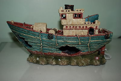 Stunning Aquarium Detailed Light Blue Trawler Boat 29 x11 x 17.5 cm