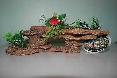 Large Aquarium Rock Decoration With Plants and Pebbles  28.5 x 13 x 12 cms