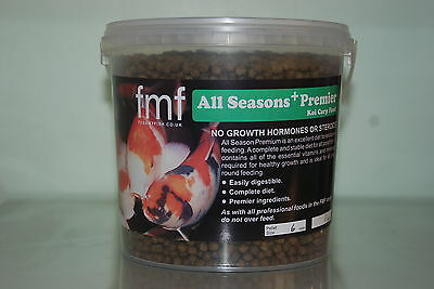Koi Carp Pond Food FMF All Season Premier + 2kg Bucket 6mm Pellets