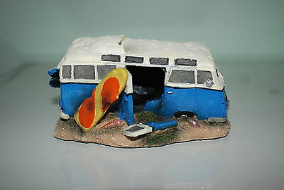 Aquarium VW Camper Van Blue Decoration With Bubble Exhaust 16.5x11x8.5 cms