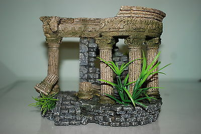 Aquarium Small Old Roman Greek Arch Ruin with Steps & Plants 12 x 7 x 10 cms