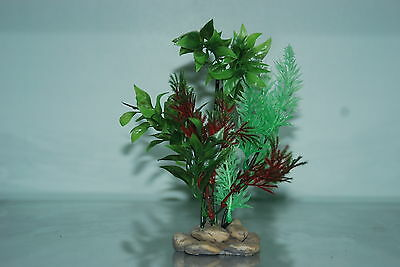 Aquarium Plant Pebble Base 8cm Base & 20 cms High Green & Red Colour