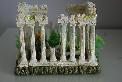 Aquarium Medium  Greek Temple Ruin Decoration & Plants & Airstone  18x12x13 cms