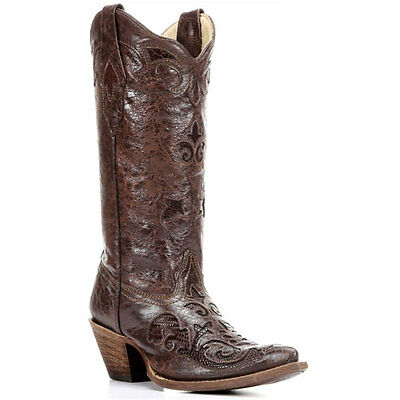 C2109 Corral Ladies Chocolate Vintage Lizard Overlay Cowboy Boots NEW