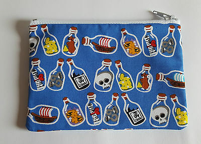 Pirate Message in a Bottle Fabric Handmade Zippy Coin Purse Storage Pouch