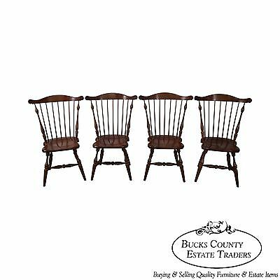 Frederick Duckloe Solid Cherry Set of 4 Comb Back Windsor Dining Chairs