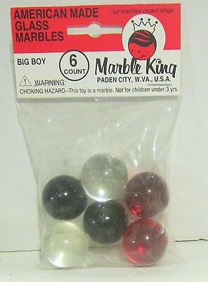LOT W/6 MARBLE KING BIG BOY MARINE PURIE MARBLES IN ORIGINAL PACK, item 2585